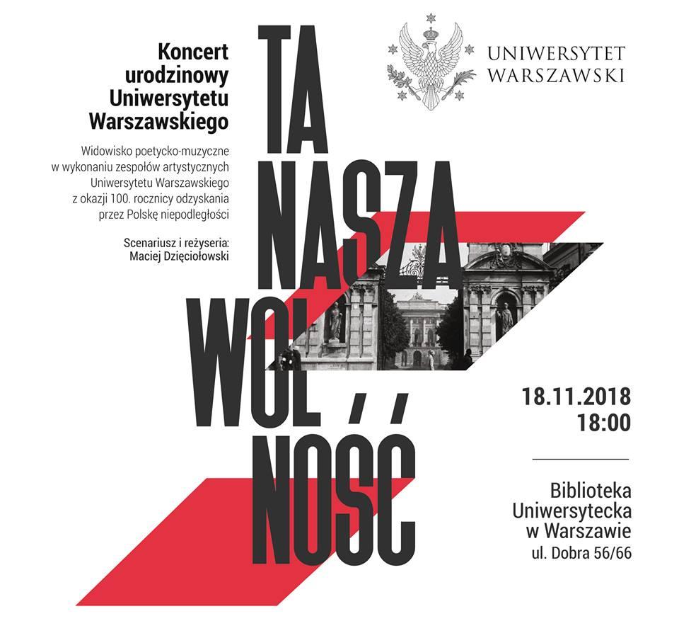 """Koncert urodzinowy Uniwersytetu Warszawskiego """"Ta nasza wolność"""""""