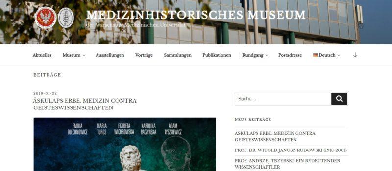 Nowa strona internetowa Muzeum Historii Medycyny Warszawskiego Uniwersytetu Medycznego