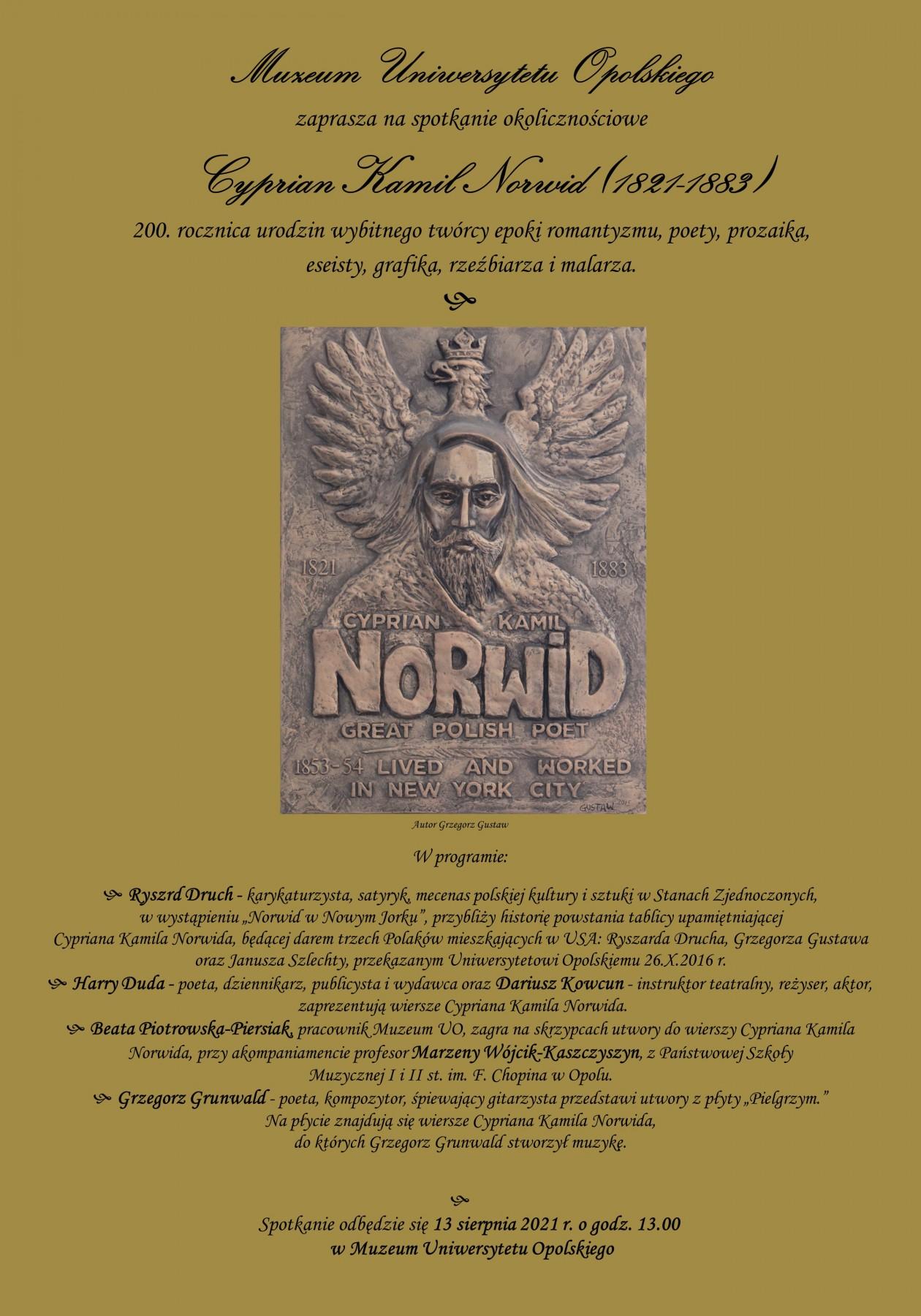 Cyprian Kamil Norwid (1821-1883) – spotkanie w Muzeum Uniwersytetu Opolskiego